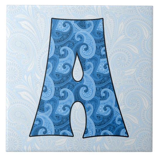 Letra A - Paisley azul con monograma Azulejo Cuadrado Grande