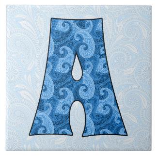 Letra A - Paisley azul con monograma teja de 6 pul