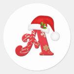 Letra A, pegatina del monograma del navidad del
