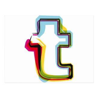 Letra abstracta y colorida t postales