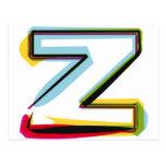 Letra abstracta y colorida Z Tarjetas Postales