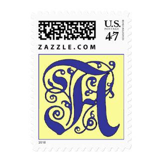 Letra adornada del monograma un sello azul y