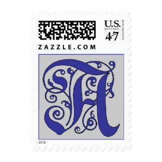 Letra adornada del monograma un sello azul y gris