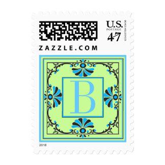 Letra adornada sello azul y verde de B del