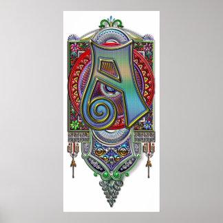 Letra adornada una impresión del monograma poster