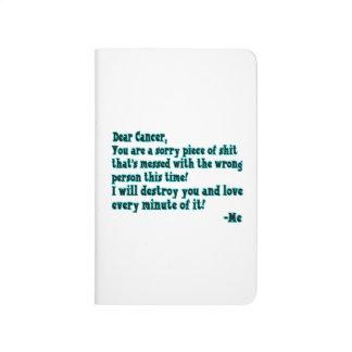 Letra al cáncer cuaderno grapado