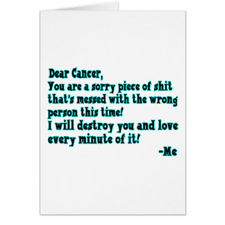 Letra al cáncer tarjeta de felicitación