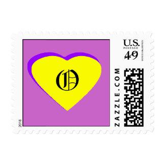 Letra Amarillo-Púrpura O del corazón el MUSEO Sellos