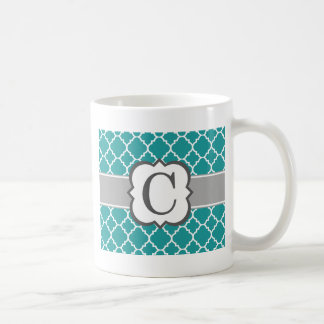 Letra azul C Quatrefoil del monograma del trullo Taza De Café