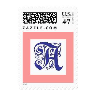 Letra azul del monograma adornado un sello