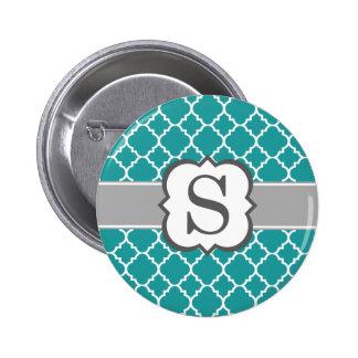 Letra azul S Quatrefoil del monograma del trullo Pin Redondo De 2 Pulgadas