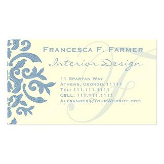 Letra azul y poner crema elegante F del damasco Tarjeta De Visita