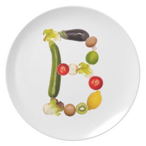 """letra """"B"""" de frutas y verduras Plato"""