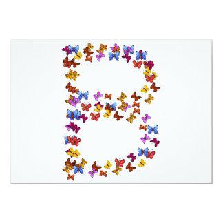 """Letra B de los gráficos coloridos de la mariposa Invitación 5"""" X 7"""""""