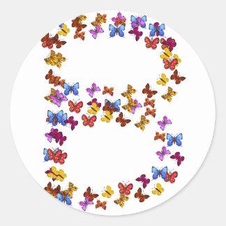 Letra B de los gráficos coloridos de la mariposa Pegatina Redonda