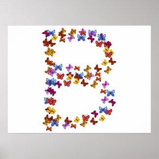 Letra B de los gráficos coloridos de la mariposa Póster
