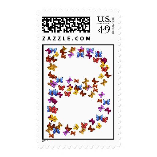 Letra B de los gráficos coloridos de la mariposa Franqueo