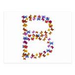 Letra B de los gráficos coloridos de la mariposa Tarjeta Postal