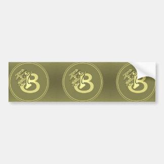 Letra B del medallón del monograma del ángel del Pegatina Para Auto
