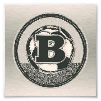 Letra B del monograma del fútbol del medallista de Impresiones Fotograficas