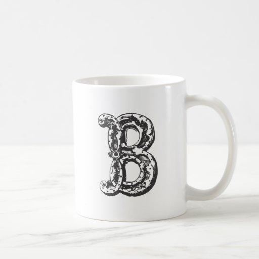 Letra B del monograma en negro Taza Básica Blanca