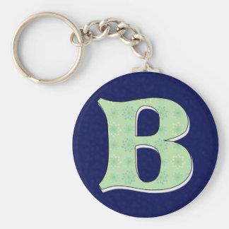 Letra B del monograma Llavero Redondo Tipo Pin