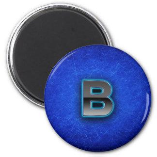 Letra B - edición azul de neón Imán Redondo 5 Cm