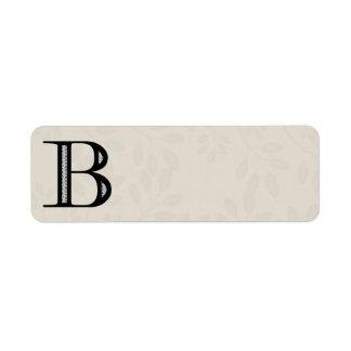 Letra B - negro del damasco Etiquetas De Remite