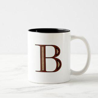 Letra B - rojo del damasco Tazas De Café