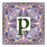 Letra barroca P Invitación 13,3 Cm X 13,3cm
