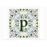 Letra barroca P Postal