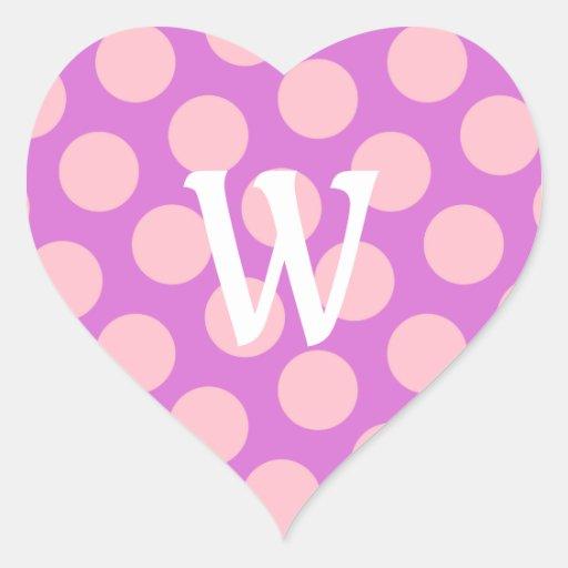 Letra blanca W en puntos rosados Calcomanías Corazones Personalizadas