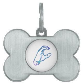 Letra C del alfabeto del ASL Placas De Nombre De Mascota