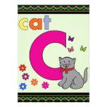 Letra C del gato Invitaciones Personalizada
