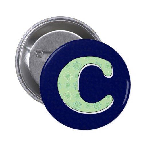 Letra C del monograma Pin Redondo 5 Cm
