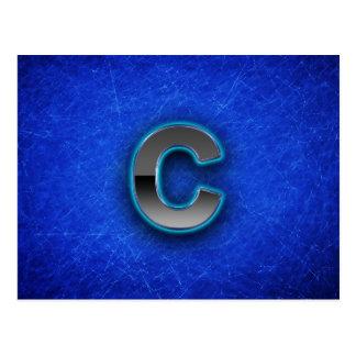 Letra C - edición azul de neón Tarjetas Postales