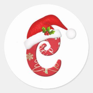 Letra C, pegatina del monograma del navidad del