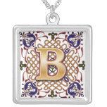 Letra céltica B del monograma Pendiente Personalizado