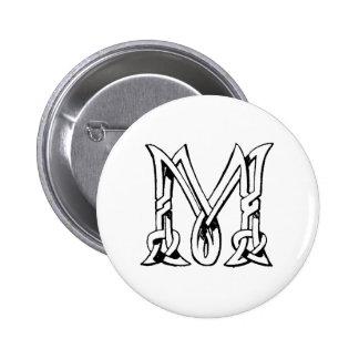Letra céltica M del monograma del nudo del vintage Pin