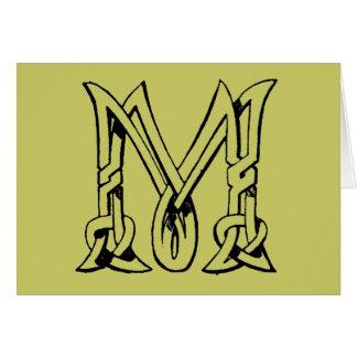 Letra céltica M del monograma del nudo del vintage Felicitación