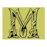 Letra céltica M del monograma del nudo del vintage Tarjetas Postales