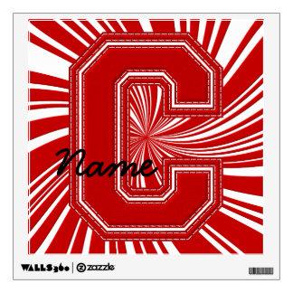 Letra colegial C de la etiqueta de la letra, roja