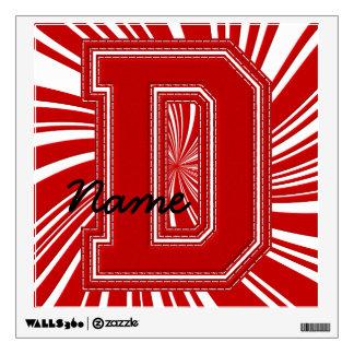 Letra colegial D de la etiqueta de la letra, roja