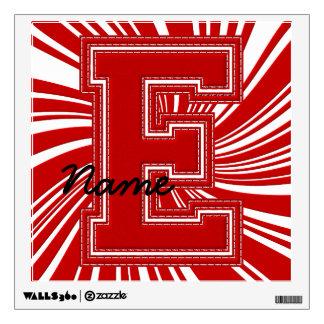 Letra colegial E de la etiqueta de la letra, roja