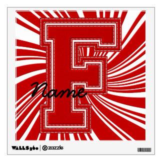 Letra colegial F de la etiqueta de la letra, roja