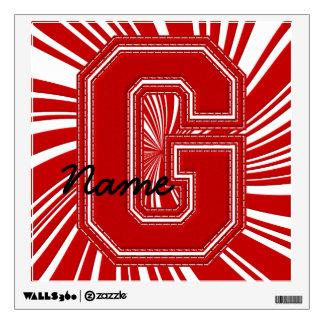 Letra colegial G de la etiqueta de la letra, roja