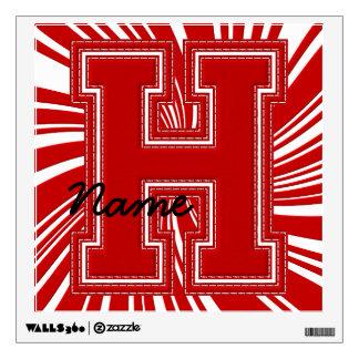 Letra colegial H de la etiqueta de la letra, roja