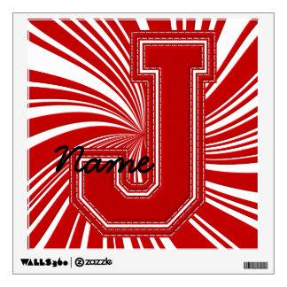 Letra colegial J de la etiqueta de la letra, roja