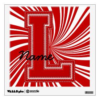 Letra colegial L de la etiqueta de la letra, roja