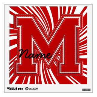 Letra colegial M de la etiqueta de la letra, roja